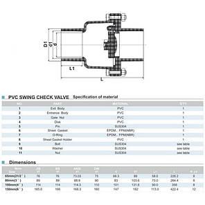 Обратный клапан ПВХ ERA поворотный 63 мм, фото 2