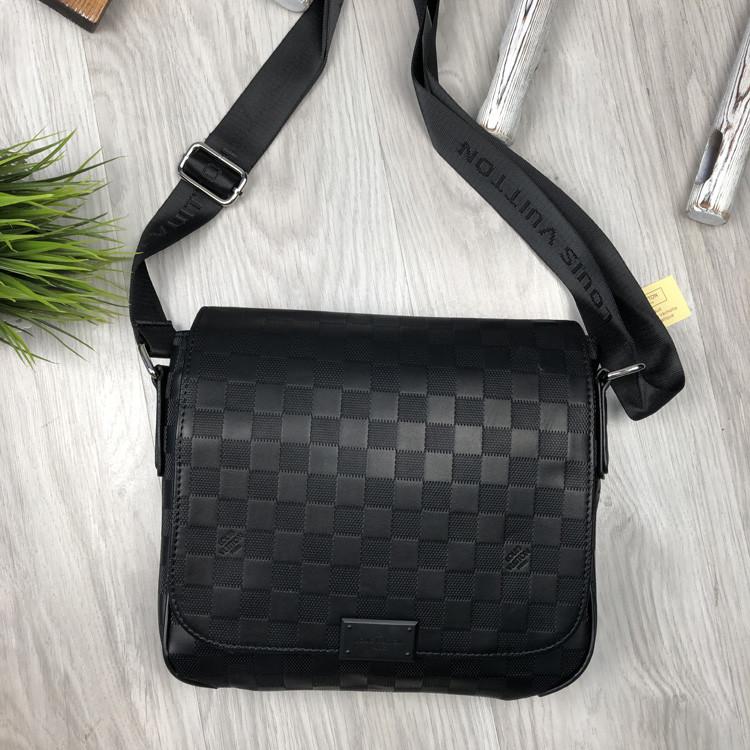 Трендовая сумка через плечо мессенджер Louis Vuitton черная Турция мужская Качество Стильная Луи Виттон копия