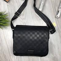 Трендовая сумка через плечо мессенджер Louis Vuitton черная Турция мужская Качество Стильная Луи Виттон копия, фото 1