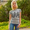 """Женская патриотическая футболка """"UA"""" (серая)"""