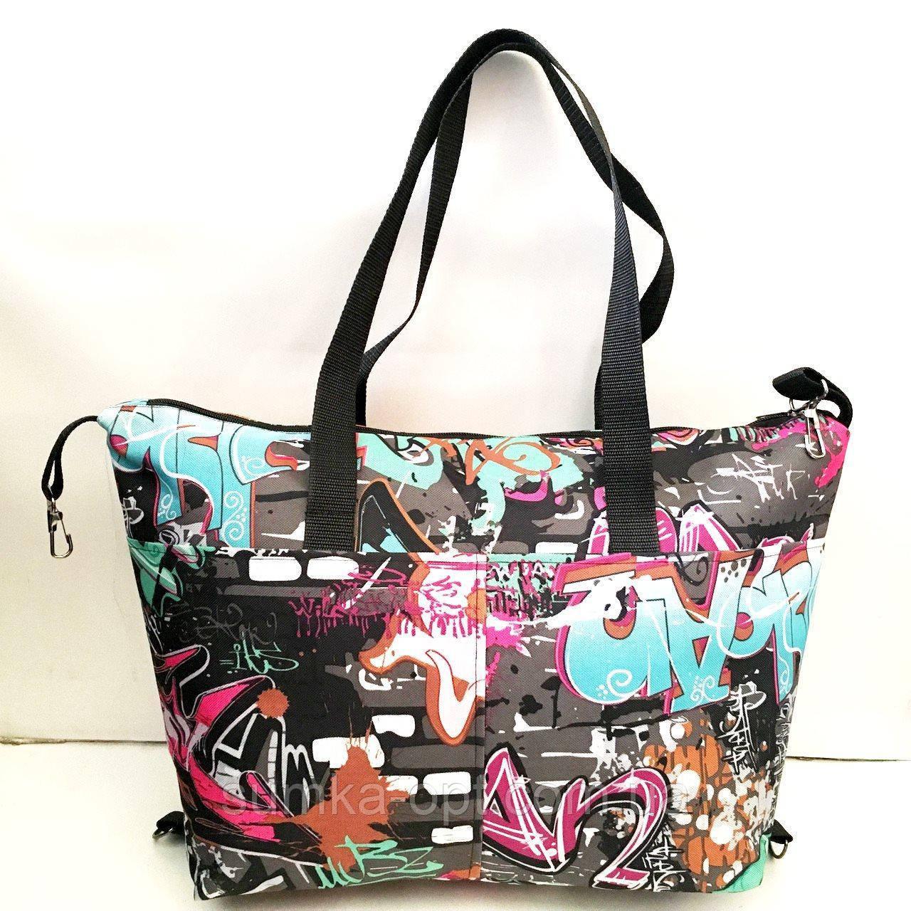 Универсальные женские сумки оптом (яркий принт)32*50см