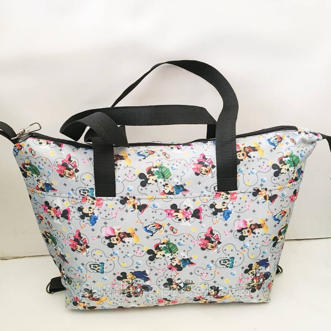 Универсальные женские сумки оптом (серый принт)32*50см