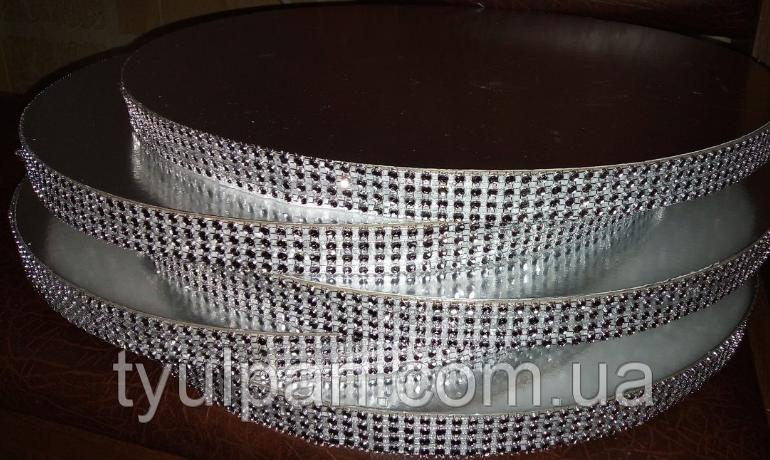 Подложка  усиленная круг серебро 26 см  h -2 см