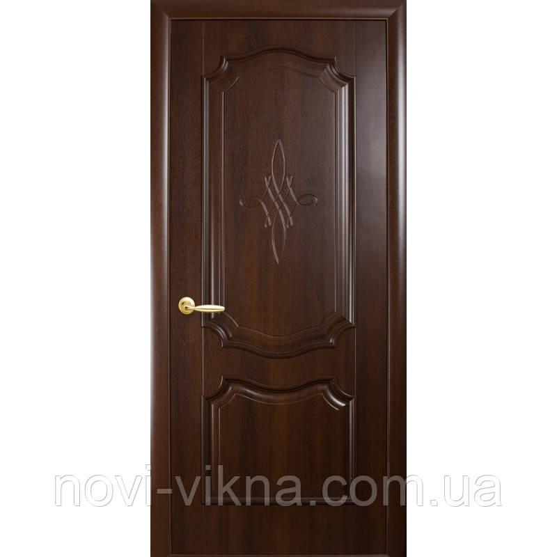 Дверь межкомнатная Рока каштан 600 мм глухая с гравировкой, ПВХ DeLuxe.