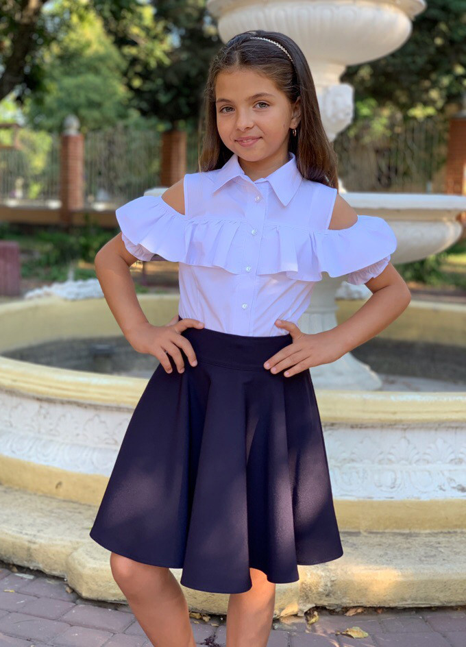 """Детская школьная блузка 670 """"Хлопок Плечи Рюши Фонарики"""""""