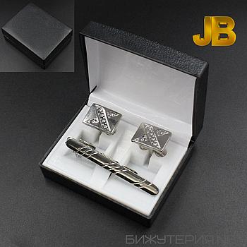 Набор 9 запонки и зажим для галстука в коробке JB - 1027540855