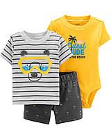 Яркий летний комплект - футболка, шорты и боди Картерс для мальчика