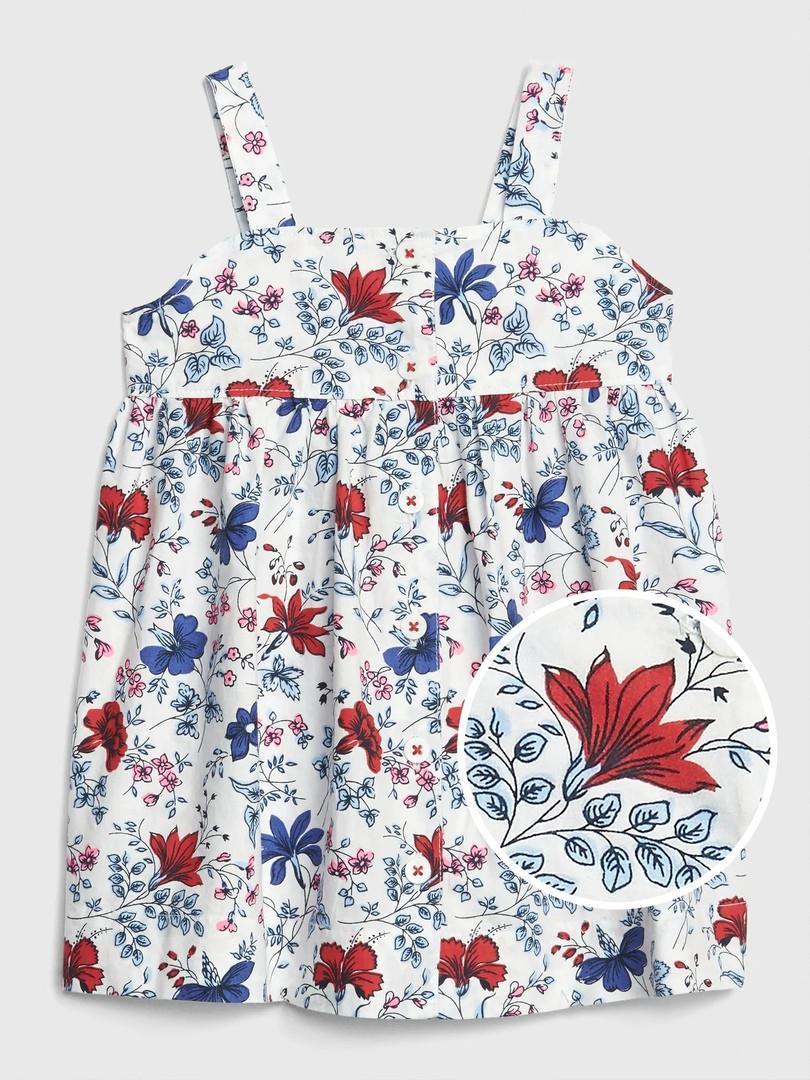 Летнее расклешенное платье на бретелях Цветочки GAP для девочки