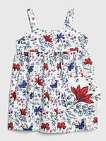 Летнее расклешенное платье на бретелях Цветочки GAP для девочки, фото 1