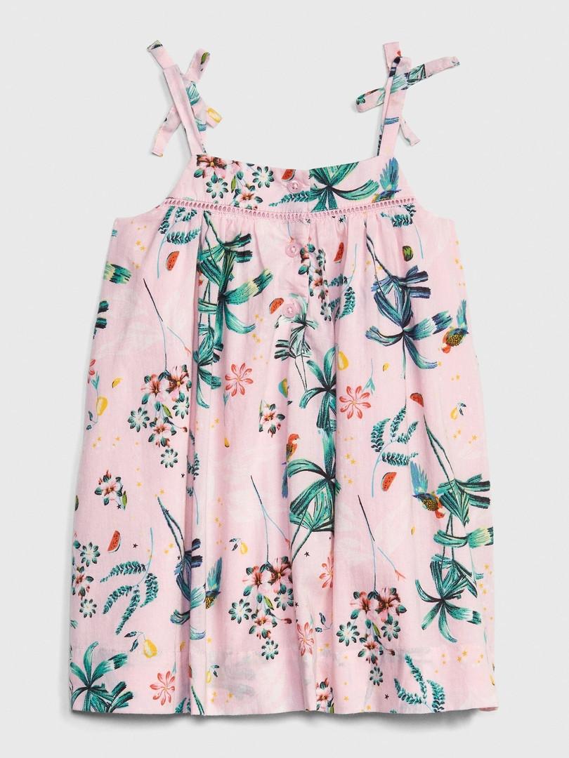 Летнее расклешенное платье на бретелях с бантиками Цветочки GAP для девочки