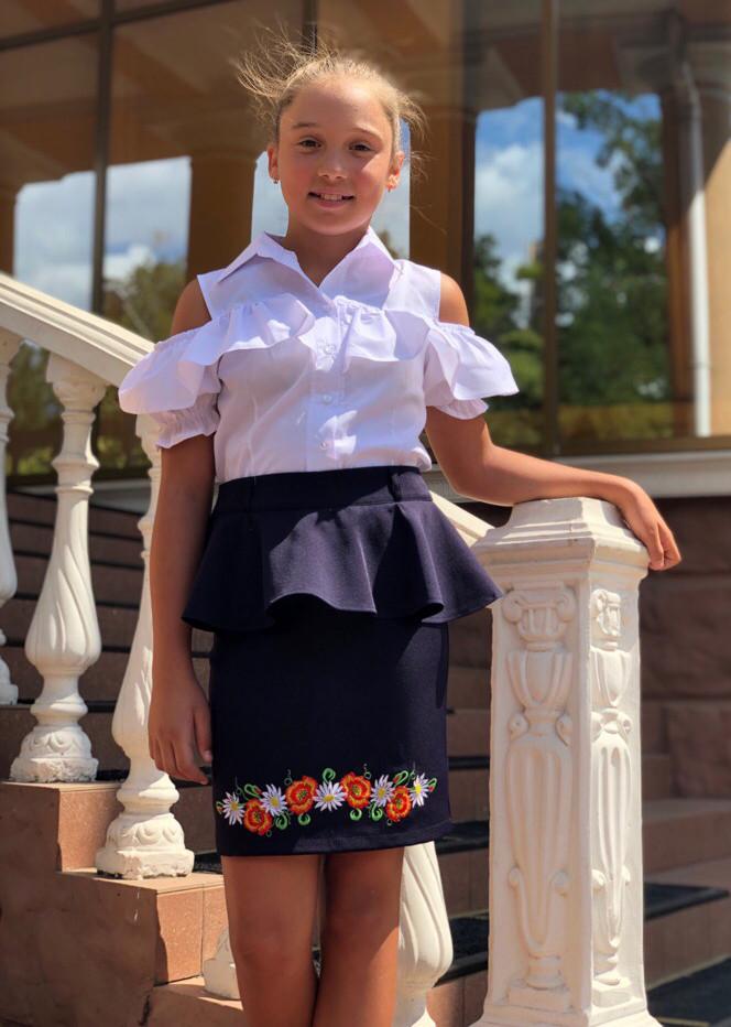 """Детская стильная юбка 503-5 """"Баска Вышивка Подросток"""" в школьных расцветках"""