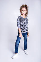 Детский пуловер для девочки Krytik Италия 94545 / K4 / 00A серый