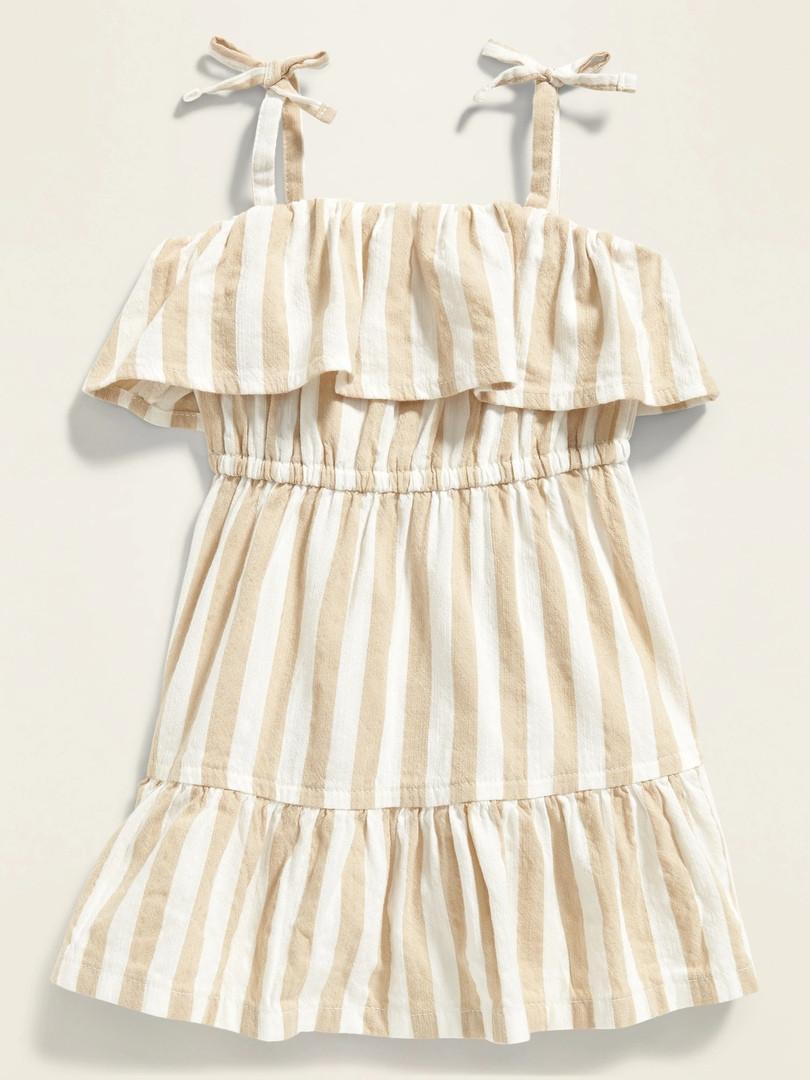 Полосатое легкое платье с рюшей Олд Неви для девочки