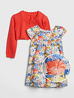 Яркий комплект - платье с цветочками и кардиган GAP для девочки