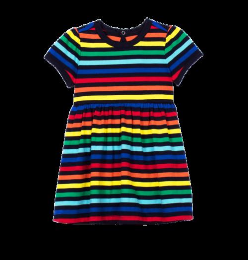 Яркое полосатое боди-платье для новорожденнойя с коротким рукавом Primary для девочки