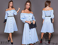 Элегантное удобное женское платье рубашка миди