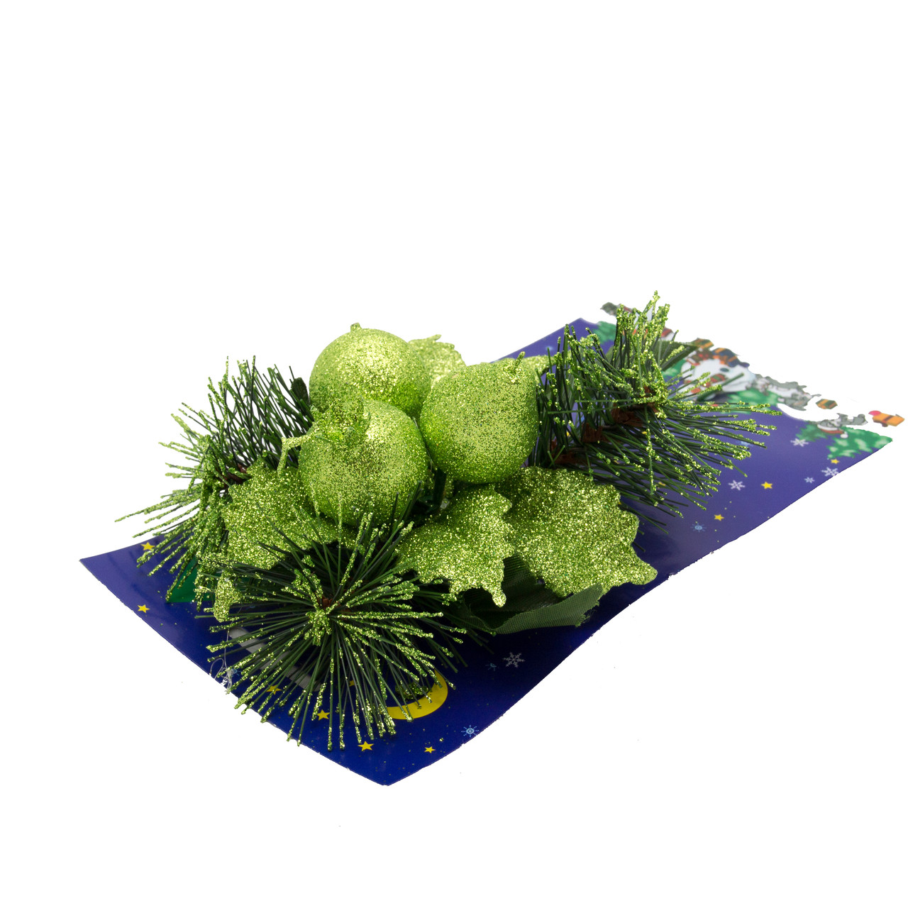 Хвойная декоративная веточка с ягодами, 18 см (470648)