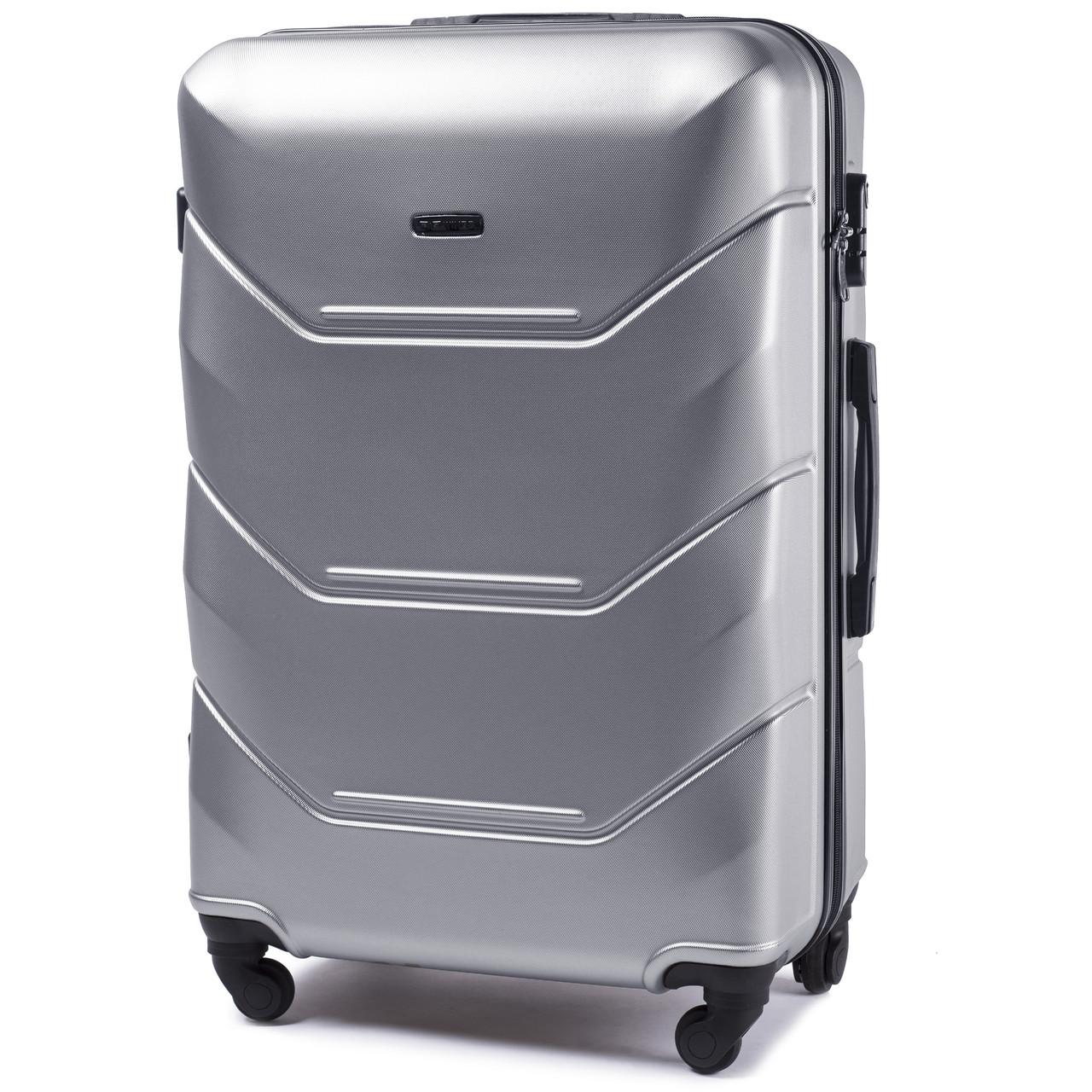 Чемодан пластиковый на 4 колесах Wings 147 Средний (M) Серебро