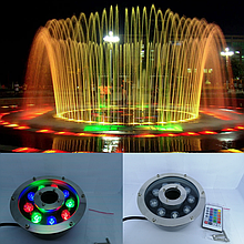 Підводний прожектор світлодіодний RGB DC12v 9 Вт IP68 з пультом для фонтану і басейну