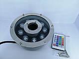 Підводний прожектор світлодіодний RGB DC12v 9 Вт IP68 з пультом для фонтану і басейну, фото 3