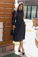 Женственное платье-миди с длинными рукавами