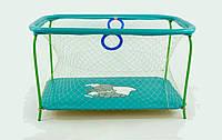 Манеж детский игровой KinderBox люкс Бирюзовый слоник  с крупной сеткой (km 5512), фото 1
