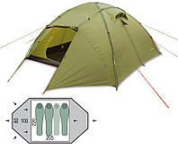 Палатка трехместная Pinguin - Tornado 3 Green, 3-4 местная (PNG 123)