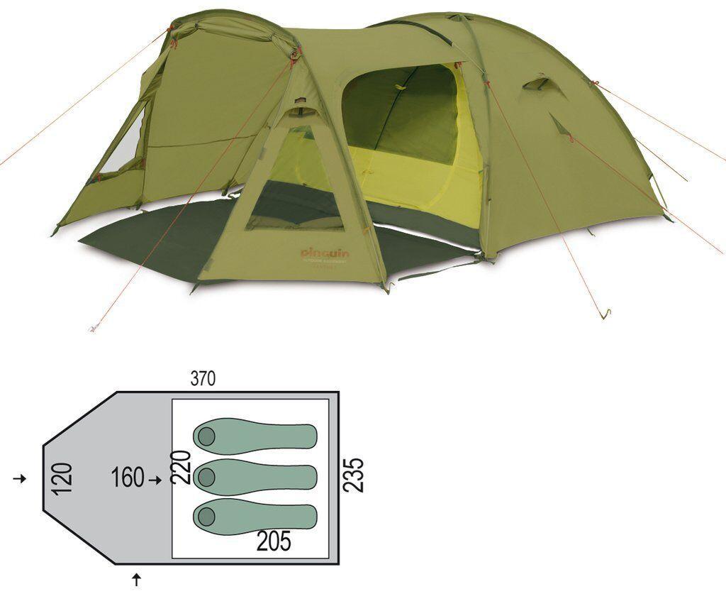 Палатка трехместная Pinguin - Campus 3 Green, 3-местная (PNG 125.3)