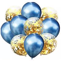 """(Цена за 10шт) Шарики воздушные хром + прозрачные с конфетти 12"""" (Китай)"""