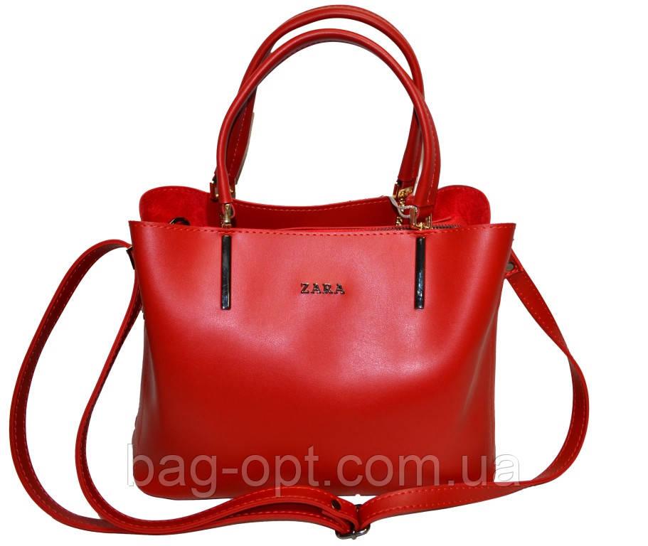 Женская сумка красная Zara (23*30*13)
