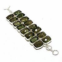 Широкий браслет- манжет с зеленым аметистом, фото 1