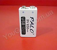 """Аккумулятор LiIon 9В """"КРОНА"""" 650мАч PALO с зарядкой USB (+ стандартным способом через клеммы). V2. OEM."""