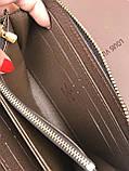 Трендовый женский кошелек на молнии Louis Vuitton коричневый Премиум Качество клатч Красивый Луи Виттон копия, фото 3