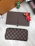 Трендовый женский кошелек на молнии Louis Vuitton коричневый Премиум Качество клатч Красивый Луи Виттон копия, фото 4