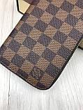 Трендовый женский кошелек на молнии Louis Vuitton коричневый Премиум Качество клатч Красивый Луи Виттон копия, фото 6
