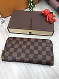 Трендовый женский кошелек на молнии Louis Vuitton коричневый Премиум Качество клатч Красивый Луи Виттон копия, фото 5