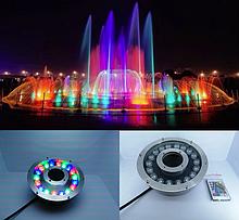 Підводний прожектор світлодіодний RGB 18 Вт IP68 з пультом дистанційного керування для фонтану і басейну