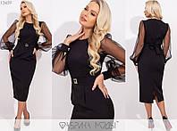 Платье женское миди с длинными рукавами из фатина - Черный, фото 1