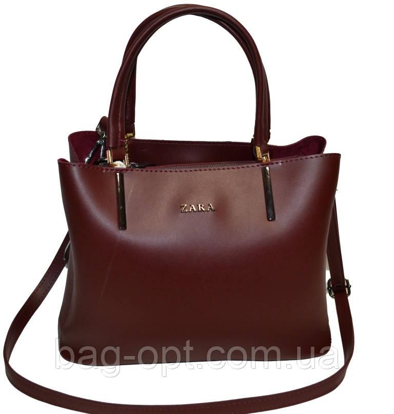 Женская сумка бордовая Zara (23*30*13)