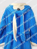 Дитячий махровий халат з вушками Зайка для дітей від 7 до 9 років