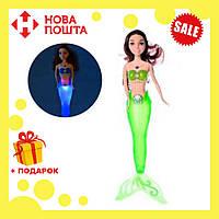 Кукла для девочек A 009-7 Русалка с салатовым светящимся хвостом | русалочка | светящаяся куколка