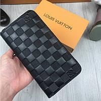 Красивый бумажник на молнии Louis Vuitton черный натуральная кожа кошелек Качество Стильный Луи Виттон копия, фото 1
