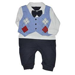 Детский трикотажный человечек для мальчиков,размер 0-9 месяцев(3ед в уп)