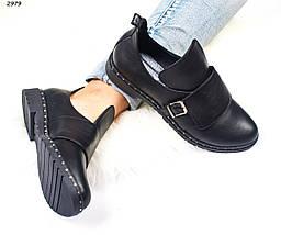Женские ботинки черные на низком ходу натуральные классика 2979, фото 3