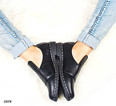 Женские ботинки черные на низком ходу натуральные классика 2979, фото 2