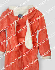Детский махровый халат с ушками Зайка для детей от 7 до 9 лет, фото 3