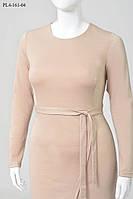 Женсое платье французского трикотажа прямого силуэта 44,46,48,50,52,54р МОЛОКО юбка с имитацией запах, пояс