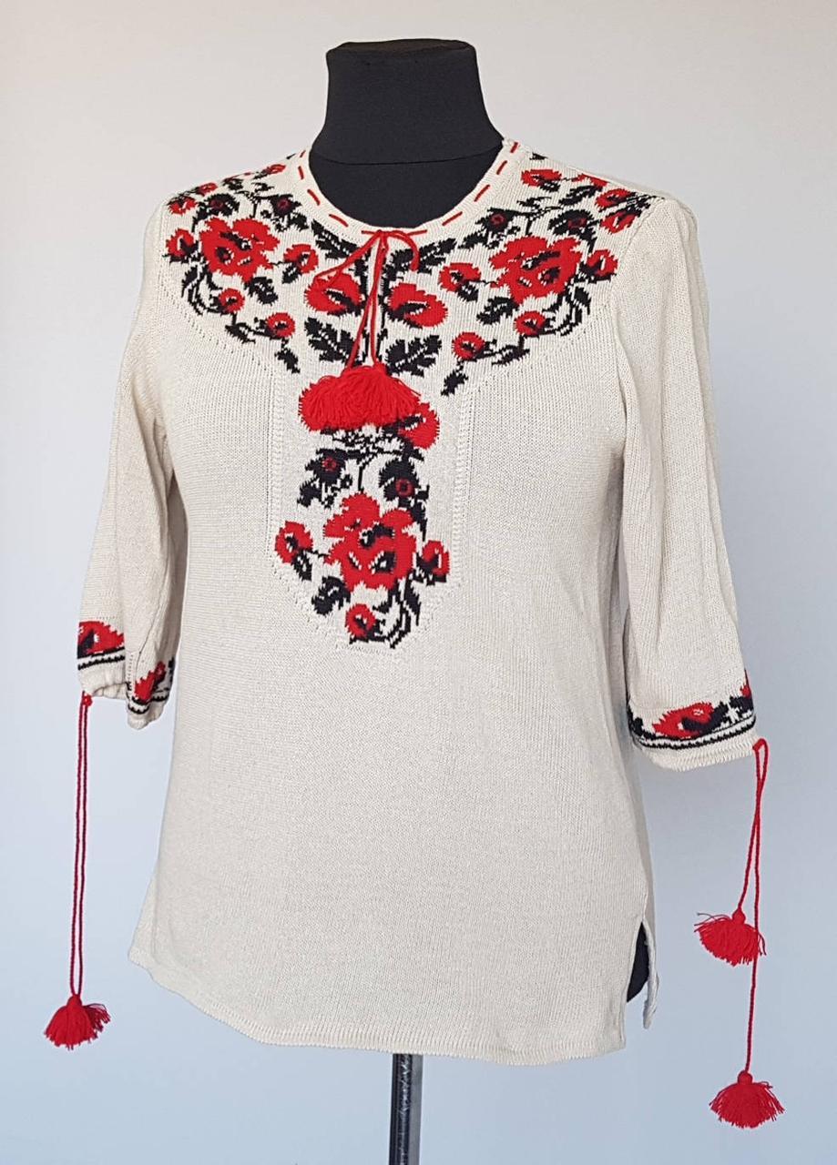 Блузка вышиванка вязаная с укороченными рукавами