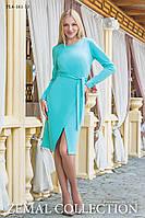 Женское платье французского трикотажа прямого силуэта 44,46,48,50,52,54р МЕНТОЛ юбка с имитацией запах, пояс