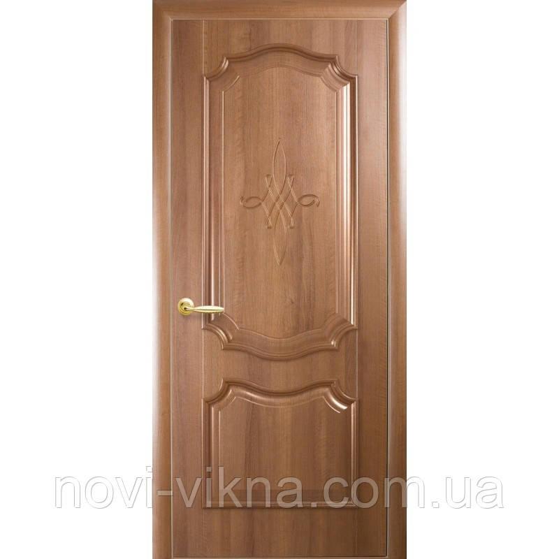 Дверь межкомнатная Рока золотая ольха 700 мм глухая с гравировкой, ПВХ DeLuxe.